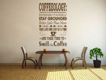 "Kitchen Wall Quote "" Coffeeology"" Vinyl Wall Sticker, Modern Transfer, Decal"